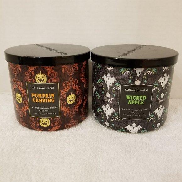 Bath & Body Works 3 wick Candles - Pumpkin & Apple